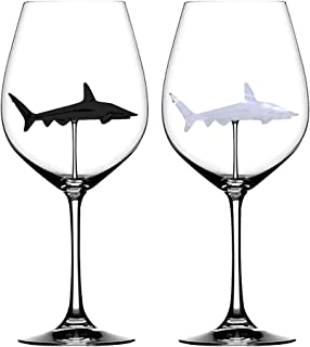 Nesee 2PC The Original Shark Red Wine Glass Wine Bottle Crystal for Party Flutes Glass, Shark Wine Goble Glass Clear,Wine Cup for Gift,Party,Christmas,Halloween