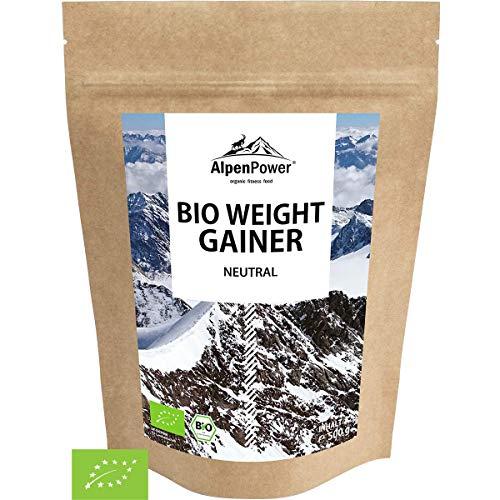 ALPENPOWER | BIO WEIGHT GAINER | Hochwertiges Protein | Komplexe Kohlenhydrate | Muskelaufbau | 100% natürliche Zutaten | Ohne Zusatzstoffe | Organic Weight Gainer | 500g
