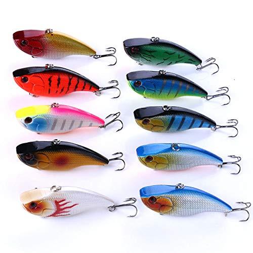 FEIYI Pesca & Caza 10pcs/set 7.5cm 18g de plástico Jigs Wobblers Baits VIB Señuelo de pesca artificial duro