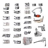 Fdit 32 Unids/Set Máquina de Coser de Acero Inoxidable Kit de prensatelas para el hogar Accesorios de máquina de Coser Multifuncional