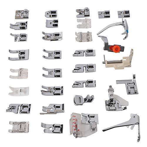 Juego de pies prensatelas de 32 piezas para la mayoría de las máquinas de coser multifunción domésticas y máquinas de coser antiguas