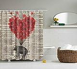 Boyouth Elefant & roter Ballon in alter Zeitung Muster Digitaldruck Duschvorhänge für Badezimmer Dekor, Polyester wasserdichter Stoff Badvorhang mit 12 Haken, 178 x 178 cm, mehrfarbig