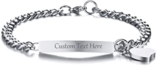 VNOX Customize Friendship Sister Jewelry Bar ID Tag with Heart Charm BFF Best Friend Bracelet for 2/3/4/5