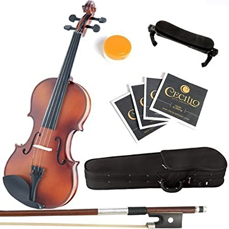 Mendini By Cecilio Solid Wood Violin - 3/4 Size, Antique- Starter Kit w/Extra Strings Hard Case, Rosin, Bow - Stringed Musical Instruments For Kids & Adults