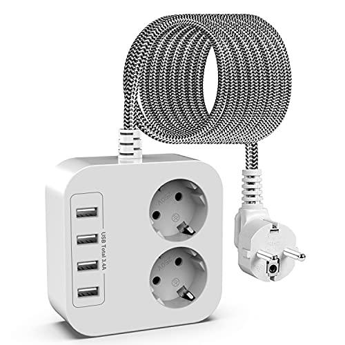 Regleta Enchufes con 2 Tomas y 4 Inteligente USB(5V,3.4A), Protección Sobretensiones Enchufes, Multienchufe(2400W,10A) de Pared con Cable de 1,5m, para Oficina, Hogar, Viajes, Blanco