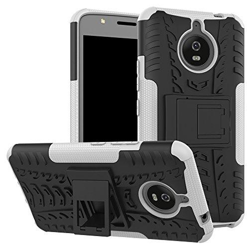 pinlu® Etui Schutzhülle Für Motorola Moto E4 Plus (5.5 Zoll) Handyhülle Hybrid Dual Layer Case TPU + PC Kombination Fall Stoßfest mit Stand-Funktion Reifen Muster Weiß