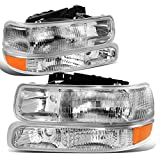 DNA Motoring HL-OH-CS99-4P-OEM Chrome Factory Style Projector Headlights Replacement For 99-06 SIlverado/Suburban