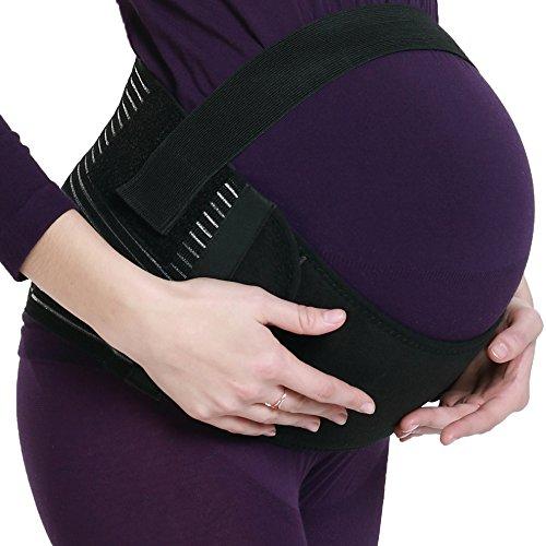 NEOtech Care Faja de Embarazo - Cinturón de Maternidad - premamá Banda para Abdomen/Cintura/Espalda, Apoyo para el Vientre - Marca (Negro, L)