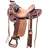 HILASON 16 in Western Horse Wade Saddle Leather Ranch Roping Mahogany