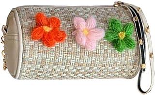 LQQSTORE Damen Umhängetaschen Schultertaschen Retro Wool Schulter Tasche Blumen Handtasche Gewebte Tasche Strand Tasche (B...