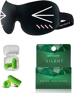 Kuershuang 3D Sleep Mask and Earplugs、ドライアイのヨガ旅行を眠るためのソフトアイマスク、男性と女性のための最高のスリーピングマスク、子供の友達へのプレゼント