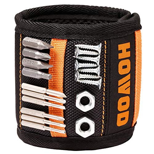 HOWOD Magnetic Wristband with 20 Super Strong Magnets for Holding Screws, Nails, Drill Bits, Magnetic Wrist Band Tool Holder, Tool Gifts for DIY Handyman, Dad, Husband, Boyfriend, Him, Men, Women