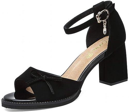 LTN Ltd - sandals Sandales épaisse Et épaisse Femme Fée Vent été Poisson Bouche Chaussures à Talons Chaussures pour Femmes, Papillon, 38