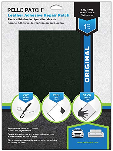 Pelle Patch - Pièce adhésive de réparation de Cuir et Vinyle - 25 Couleurs Disponibles - Original 20cm x 28cm - Vert Foncé
