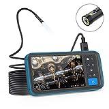 デュアルファイバースコープ Anykit内視鏡カメラ SDカード対応式内視鏡 4.5インチIPSモニター 防水・防塵規格IP67 1080P画質 内視鏡 先端側面可視化スネークカメラ 工具ケースファイバースコープ 管内観察、車修理保養、エアコン検査対応(5m-8mm)
