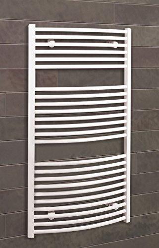 Bad-Heizkörper Florenz gebogen, 113x60 cm, 607 Watt Leistung, Anschluss unten, alpin-weiß, Handtuchhalter-Funktion, Der Renovierungsprofi