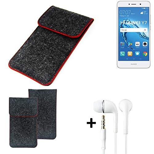 K-S-Trade Handy Schutz Hülle Für Huawei Y7 Dual SIM Schutzhülle Handyhülle Filztasche Pouch Tasche Hülle Sleeve Filzhülle Dunkelgrau Roter Rand + Kopfhörer
