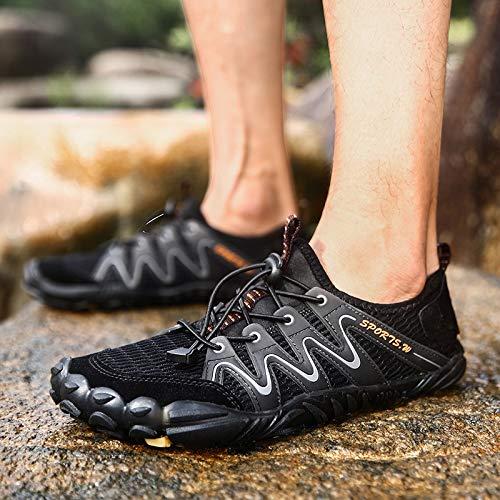 FBRR Dedos Playa vadear Aguas Arriba los Zapatos Zapatos de Buceo Zapatos Pesados de Fondo al Aire Libre Respirable (Color : Brown, Size : 10/10.5 UK)