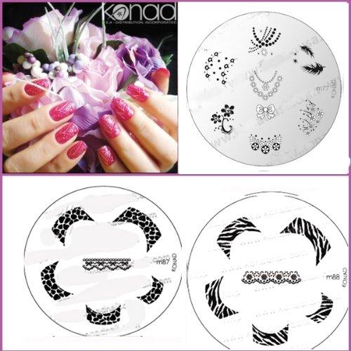 Bundle 5 pièces : Konad Plaque de nouvelles images M87, M88, M77 + Stamper & Scraper + A-viva Eco Lime à ongles