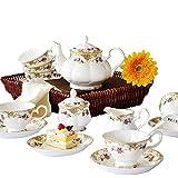 NOSSON Juegos De Té con Tetera, 15 Piezas Clásico 45% Porcelana China Juego De Té De Café De Porcelana con 6 Tazas 6 Platillo 1 Azucarero 1 Cafetera 1
