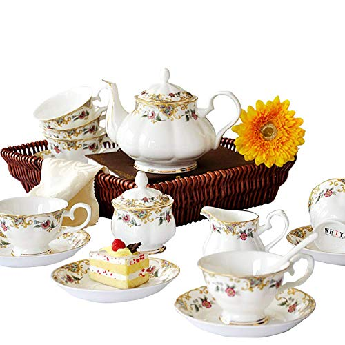 NOSSON Juego De Té De Café De Porcelana China Clásica De 15 Piezas Al 45% con 6 Tazas, 6 Platillo, 1 Azucarero, 1 Cafetera, 1 Lechera