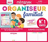 Organiseur familial Mémoniak 2020-2021 - Calendrier sur 16 mois de sept 2020 à déc 2021 - Des magnets ultra-solides et poster des règles positives de la famille en cadeau !