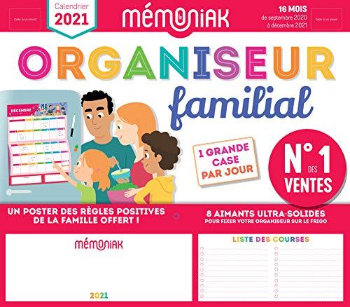 Organiseur familial Mémoniak 2020-2021 - Calendrier sur 16 mois de sept 2020 à déc 2021 : des magnets ultra-solides et poster des règles positives de la famille en cadeau !