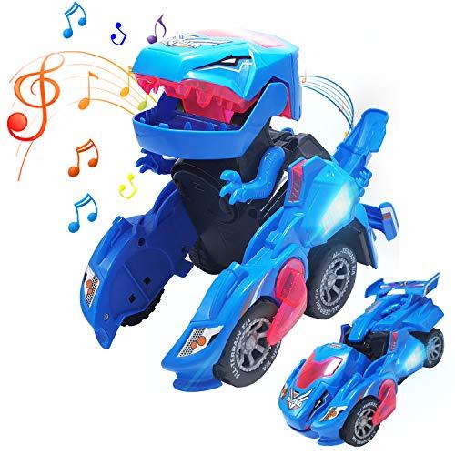 WOKALON Dinosaur Transformer Toys, Automatic Transforming Dinosaur Toys with Sound, 2 in 1 Dinosaur Transformer LED Car Toy for Kids