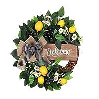 屋内屋外装飾ガーランド - ガーランドシミュレーションリースパーティー用品装飾品ドア人工品種40センチガーデンロマンチックレモンガーニッシュフラワー 家の装飾のための歓迎されたドアの花輪