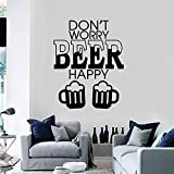 LKJHGU Calcomanías de Pared no te Preocupes por la Cerveza Feliz Alcohol Vinilo Pegatinas de Ventana Bar Discoteca Fiesta decoración de Interiores Letras Mural decoración de la Tienda de Bebidas
