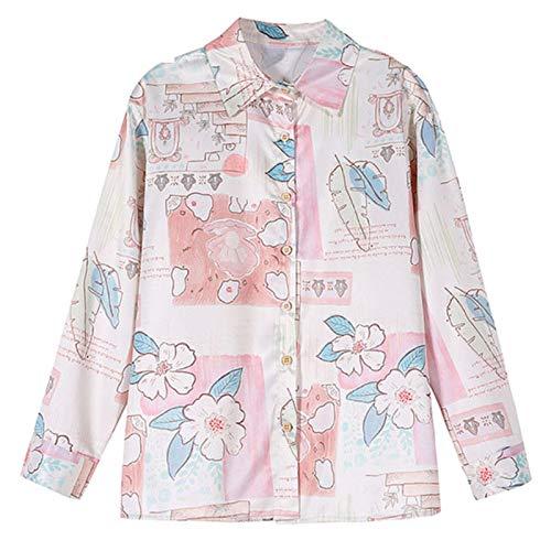 Blusa de botón de impresión para mujer Camisas vintage de manga larga blanca solo botonadura Tops - rosa - Medium