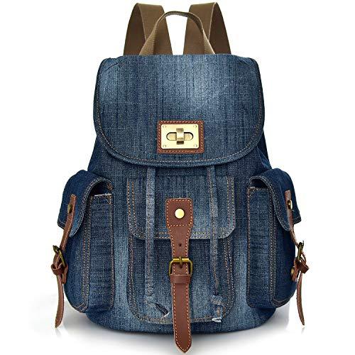 Convertible Denim School Backpack pour Teen Girls Femmes Cute Bookbag Voyage Sac à dos Élève Middle High College School Student Petit sac à main en jean pour sac à dos cartable (Bleu-Jeans)