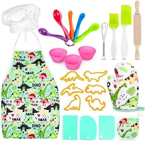 Aoskie Kids Baking Set with Dinosaur Apron Chef Dress Up Kitchen Role Play Toys for Little Boys product image