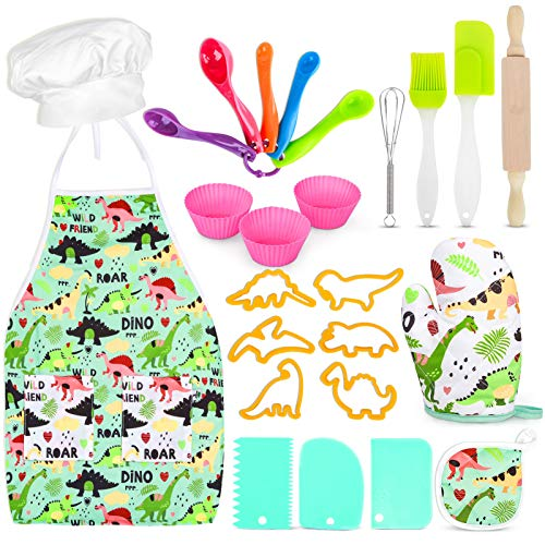 Kids Baking Set with Dinosaur Apron, 25 Pcs Baking Kit Chef Dress Up Role Play Toys for Boys Girls Age 3-8
