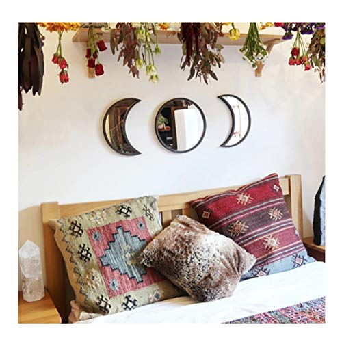 Scandinavian Natural Decor Acrylic Moonphase Mirrors, Moon Phase Mirror Set, Bohemian Wall Decoration for Living Room Bedroom(Not Actual Mirror-black-3set