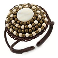Avalaya アンティーク ホワイト/ブロンズ シェルビーズ ドーム型 織物 フレックス カフ ブレスレット - 調節可能