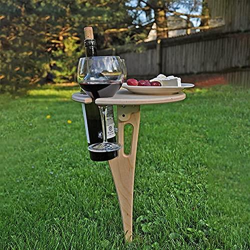 CZYNB Mesa de Vino al Aire Libre Mesa de Picnic Plegable Mesa de Playa portátil de Madera Mini Mini Vino de Madera Rack de Vino y Bandeja de bocadillos