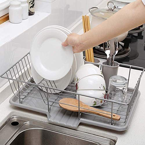 Draining Racks, Draining Board Rack Large Dish Drainer Metal Wire Dish Rack Cup Holder Chopsticks Rack with 2 Removable Cutlery Holders Draining Holder Plate Rack Kitchen Sink, 48 x 30 x 11cm