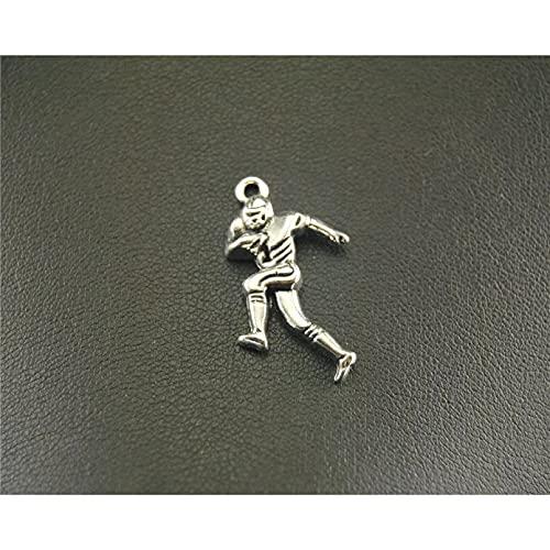 FGHHT 10 Uds,Color Plateado, Hockey,fútbol, Deporte, Hombre, amuletos de Metal paraHacer 13x27mm