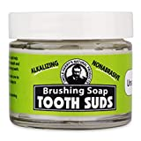 Uncle Harry's Natural Products Alkalizing Nonabrasive Brushing Soap Tooth Suds, Peppermint, Remineralizes Tooth Enamel and Promotes Alkaline pH, Fluoride Free and Vegan, 2 Ounce Glass Jar