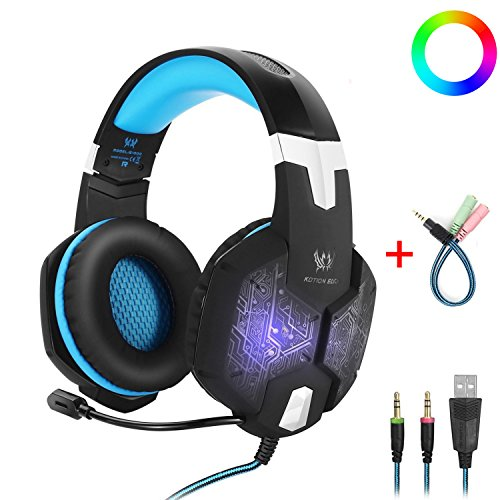 Gaming Headset with Mic for PC,KOTION EACH G1000 One Key Mute Sound Clarity Over-Ear Noise Isolation Gaming Headphones Colors Breathing LED with Volume Control Y Adapter for PS4,Xbox One,Laptop,Blue