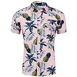 CATERTO Men's Short Sleeve Standard-Fit 100% Cotton Button Down Casual Pineapple Hawaiian Shirt Pink L