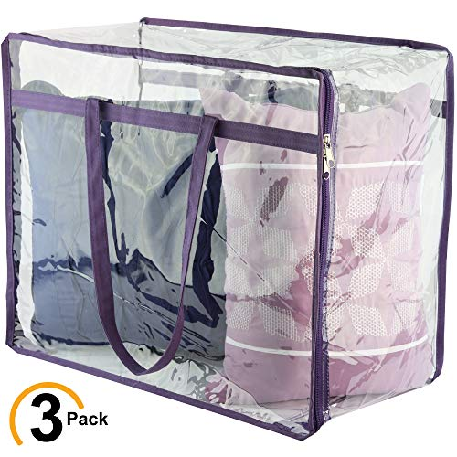 Wappa Home Clear Zippered Storage Bags | Closet Organizer Vinyl Bag for Bedding, Linen, Blankets, Duvet Covers, Comforters, Clothes & Toys | Multi Purpose & Space Saver PVC Organizers
