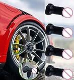 Pennis Valve Stem Caps (4 Pack), Luminous Prank Tire Valve Caps, Universal Tire Valve Stem Covers Glow in The Dark Great for Pranks Bachelorette Party Fits for Cars, Bikes, Trucks, Motorcycles (Black)