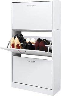 Meerveil Meuble à Chaussures à 3 abattants Armoire à Chaussures 63 x 24 x 120 cm Étagère à Chaussures Meuble à Chaussures ...