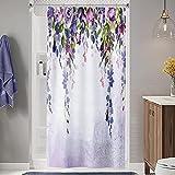 Homewelle Glyzinia Duschvorhang 91 x 182 cm (B x L), violett, weinendes Blumenranken, Blumengemälde, wasserdicht, grüne Blätter, 12 Stück Duschhaken aus Polyestergewebe, Badezimmer Badewanne