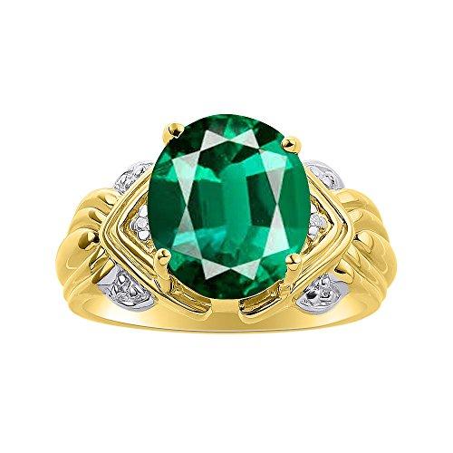 Juego de anillos de diamante y esmeralda en plata chapada en oro amarillo – 12 x 10 mm piedra de color anillo de nacimiento
