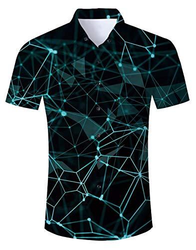 NEWISTAR Hawaiihemd Herren Kurzarm 3D Gedruckt Button Down Sommer Hemden Lässige Shirts für Männer