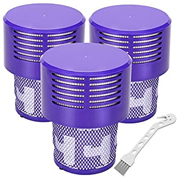 Replacement V10 Filters for Dyson V10 Cyclone Series V10 Absolute V10 Animal V10 Total Clean SV12 Replace Part No 969082-01 3 Pack Filters and 1 Clean Brush