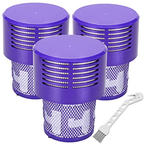 Replacement V10 Filters for Dyson V10 Cyclone Series, V10 Absolute, V10 Animal, V10 Total Clean, SV12, Replace Part No. 969082-01, 3 Pack Filters and 1 Clean Brush